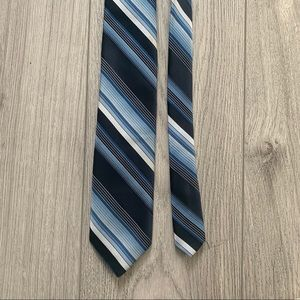 Christian Dior men's blue black white stripes tie